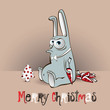 Merry Christmas rabbit with carrot