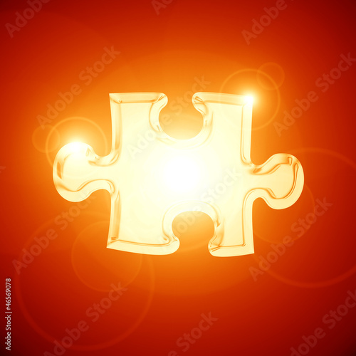Glowing puzzle piece