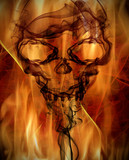 abstract background with burning flames and smoke skull