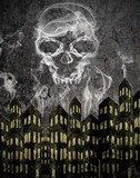 urban scene background with smoke skull
