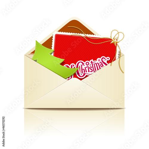 Envelope letter merry christmas, vector illustration