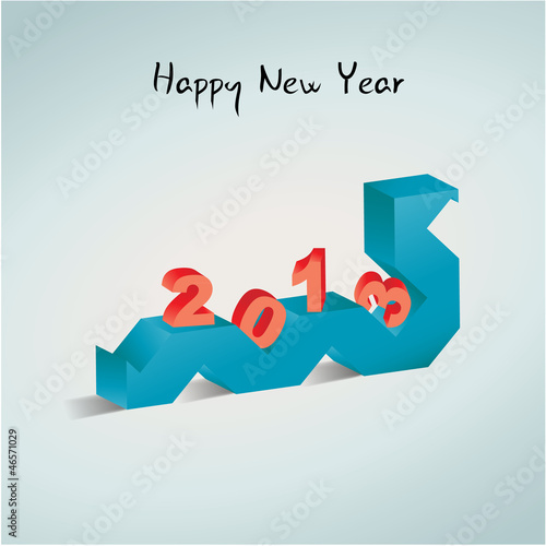 Happy New Year 2013 card. 3D snake and numbers