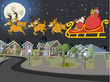 Santa Claus on sleigh with reindeer flying over suburb
