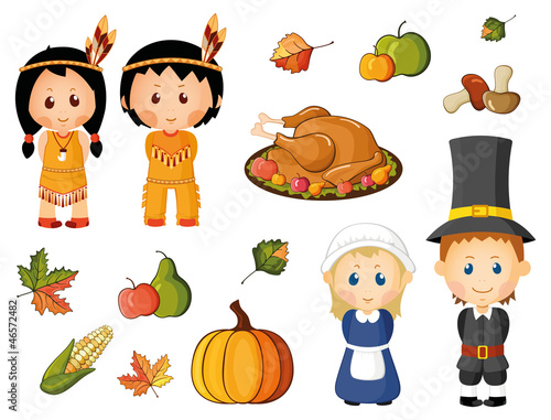 Illustrated set of thanksgiving icons