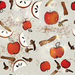 Apple strudel / Seamless pattern with strudel ingredients