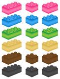 Lego Steine Vektor Set bunt poster