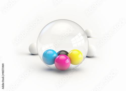 CMYK Bälle Balls in Glas Glass Kugel Sphere