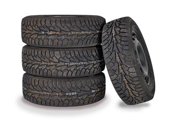 winter tires isolated on white background