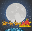 Santa Claus on sleigh with reindeer flying
