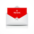 Envelope red card merry christmas, vector