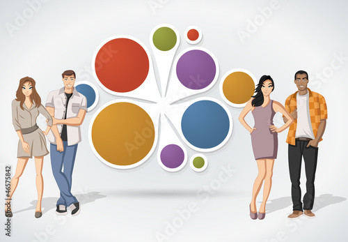 Colorful template for brochure with cartoon people