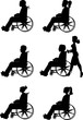 men and women in wheelchairs in silhouette