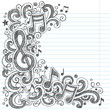 Music Notes G Clef Sketchy Doodles Vector - 46576400