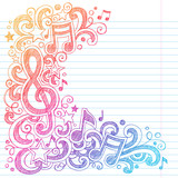 Music Notes G Clef Sketchy Doodles Vector - 46576450