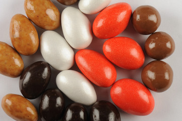 Colors Chocolate Eggs -red, brown, green, black, white