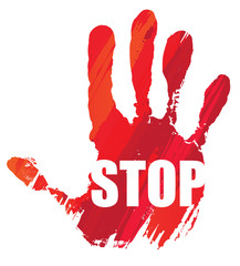 activisme : main rouge - STOP