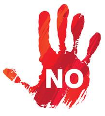 activisme : main rouge - NO