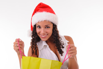 beautiful woman shopping for Christmas