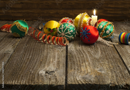 Handmade vintage Christmas decoration over wooden background