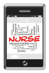Nurse Word Cloud Concept on Touchscreen Phone