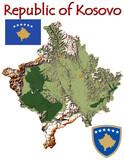 Kosovo Europe national emblem map symbol motto poster