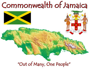 Jamaica Caribbean America national emblem map symbol motto