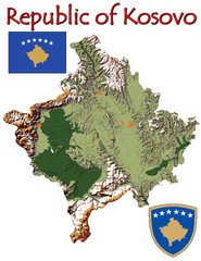 Kosovo Europe national emblem map symbol motto