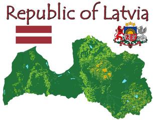 Latvia Europe national emblem map symbol motto