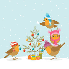 Robins and Christmas tree