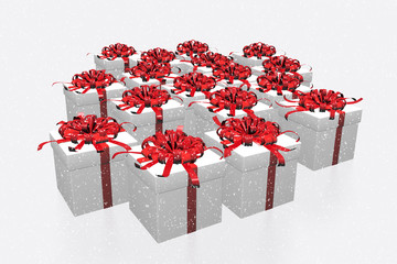 White gift boxes with red bows on white background.