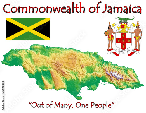 Jamaica Caribbean America national emblem map symbol motto