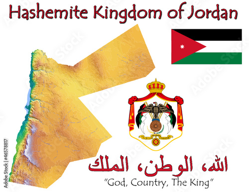 Jordan Asia national emblem map symbol motto