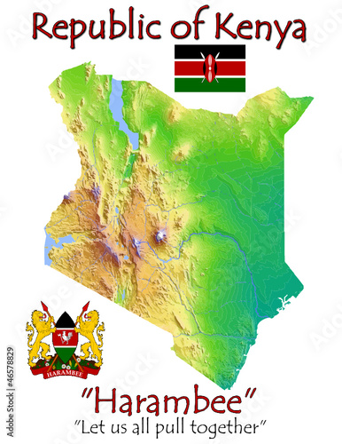 Kenya Africa national emblem map symbol motto