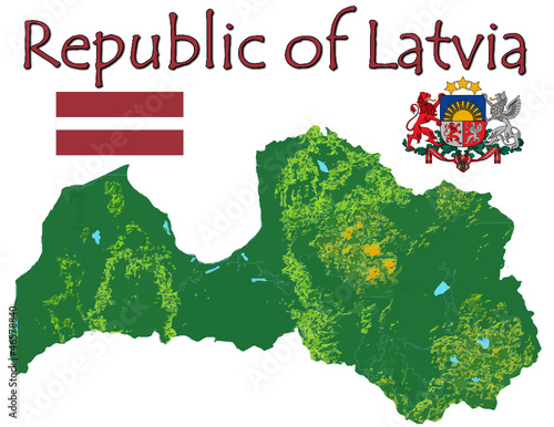Latvia Europe national emblem map symbol motto