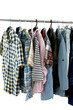 Variety of multicolored casual men's clothes shirts on hangers,
