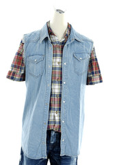 Male checkered shirt on mannequin isolated