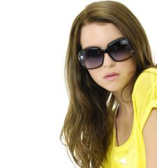 Head shot of woman wearing sunglasses