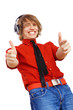 Happy smiling young man dancing