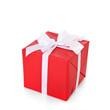 Geschenk in rotem Geschenkpapier
