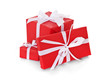 Geschenke in rotem Geschenkpapier