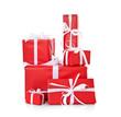 Viele Geschenke in rotem Geschenkpapier