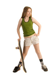 Teenage girl with a skateboard