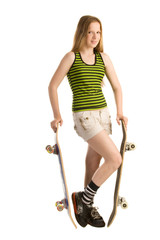 Teenage girl with two skateboards