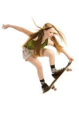 Flying girl-skateboarder