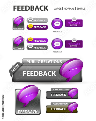 Feedback button, feedback icons and buttons