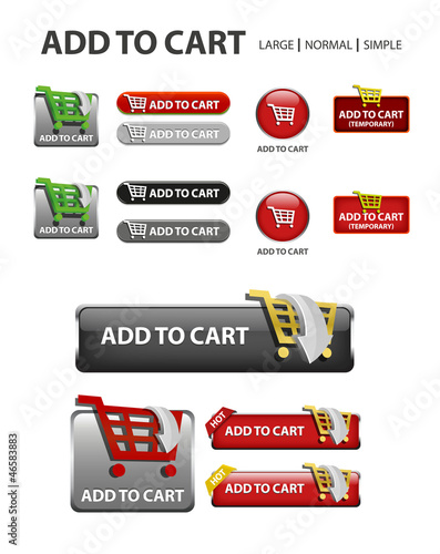 add to cart button, shopping icons and buttons