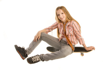 Girl Sits on skateboard