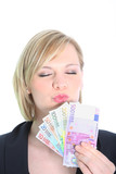 Beautiful Blonde Woman Holding Euro Notes