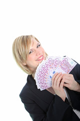 Smiling Blonde Woman Holding 500 Euro Notes