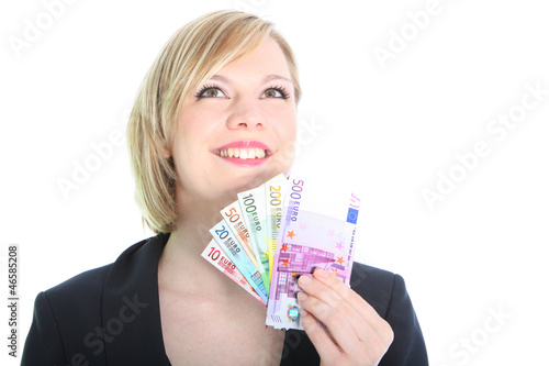 Friendly Blonde Woman Holding Euro Notes
